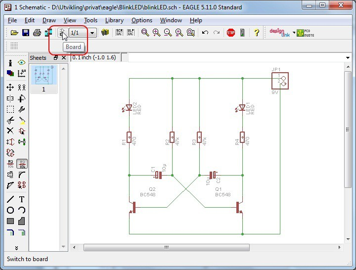 Pcb design tutorial for eagle build electronic circuits click on the board button or choose switch to board from the file menu to create a board for this schematicyou can also use the command line for asfbconference2016