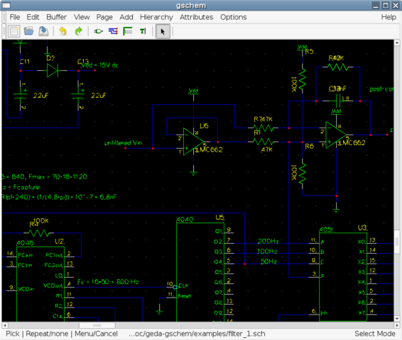 PCB Design Software Screenshot of gEDA-project