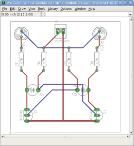 An autorouted circuit board in Eagle