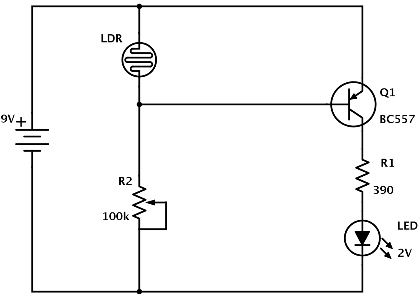 LDR circuit diagram with PNP transistor (dark detector)