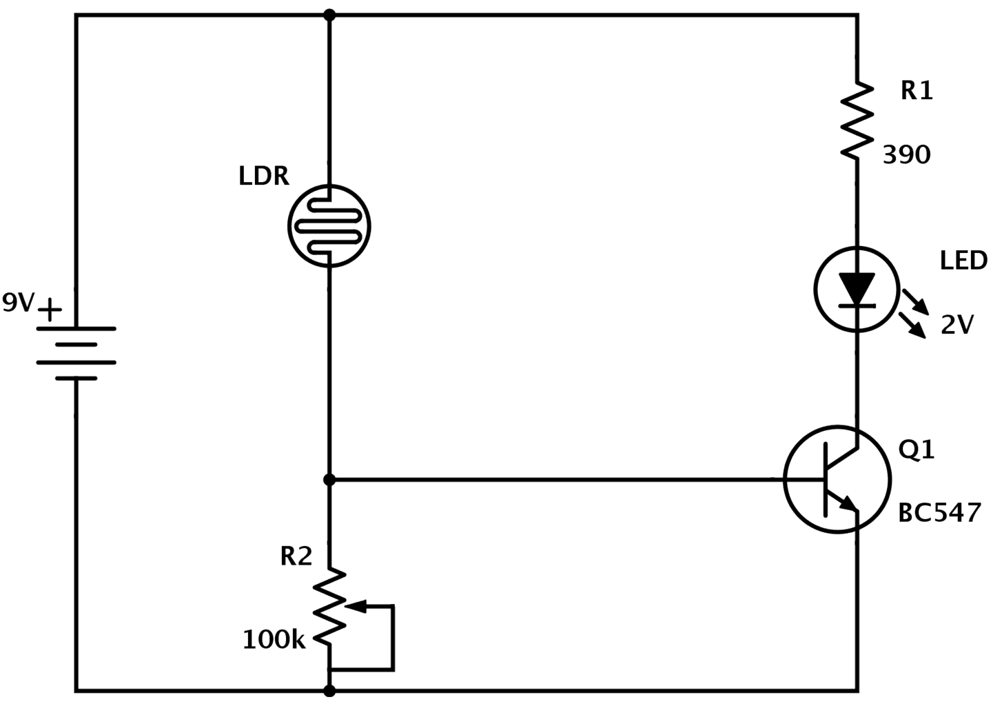 LDR circuit improved circuit diagram how to read and understand any schematic electronic circuit diagrams at virtualis.co