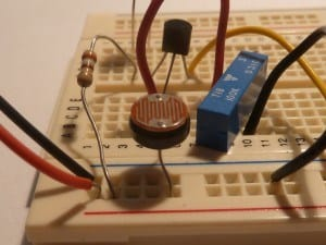 Light dependent resistor on a bradboard