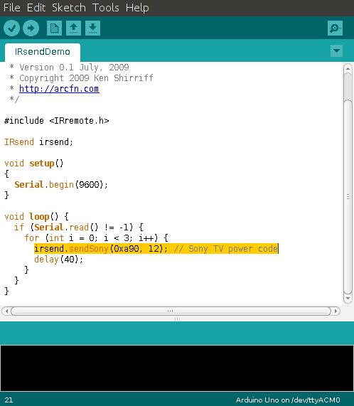 Arduino IR Send Code