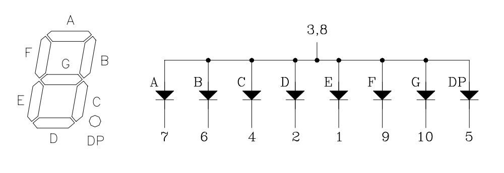 Internal schematic of 7 segment display