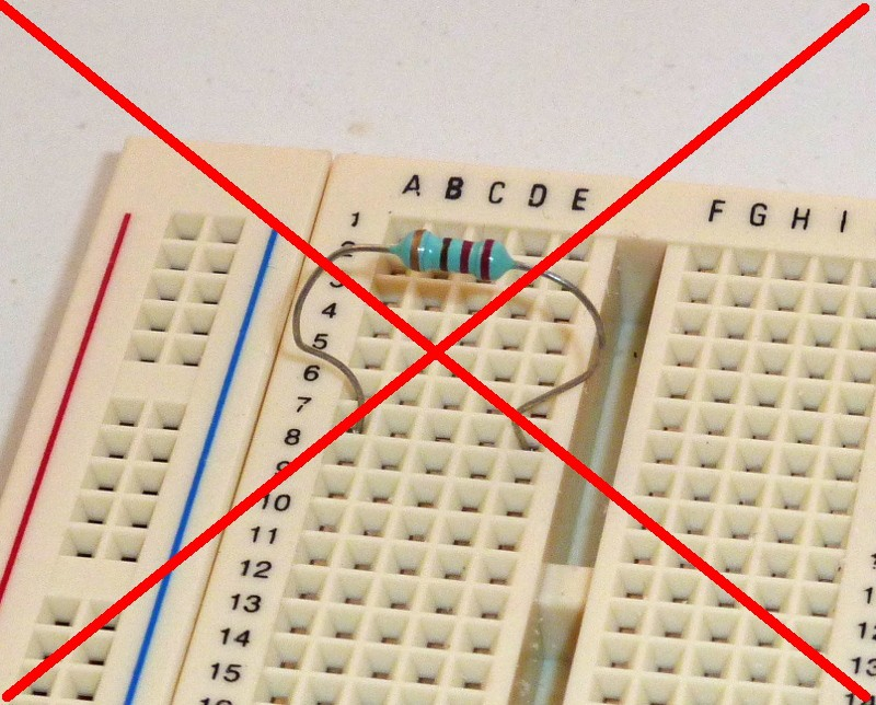 resistor on breadboard wrong connection build electronic circuits