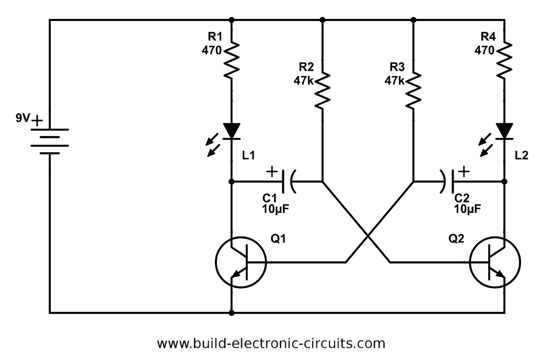 Astable Multivibrator 2LED blinking led circuit with schematics and explanation led circuit diagrams at gsmportal.co