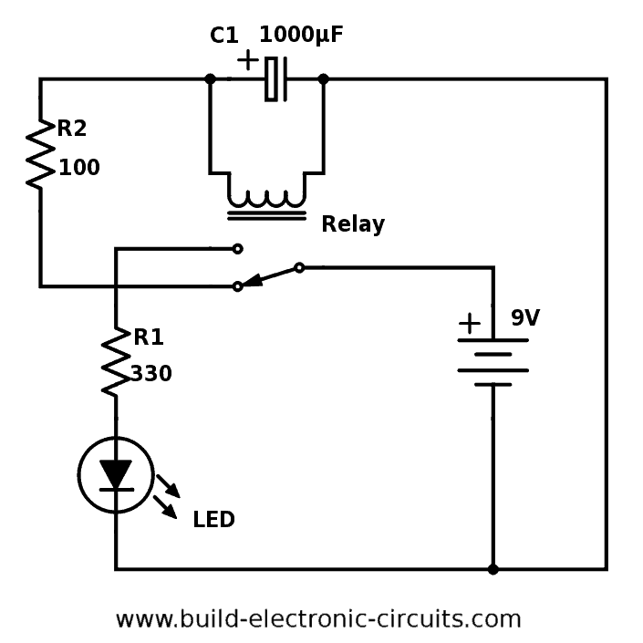 Blinking LED circuit using a relay