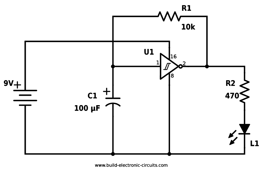 blinking led circuit with schematics and explanation  blinking led circuit using schmitt inverter