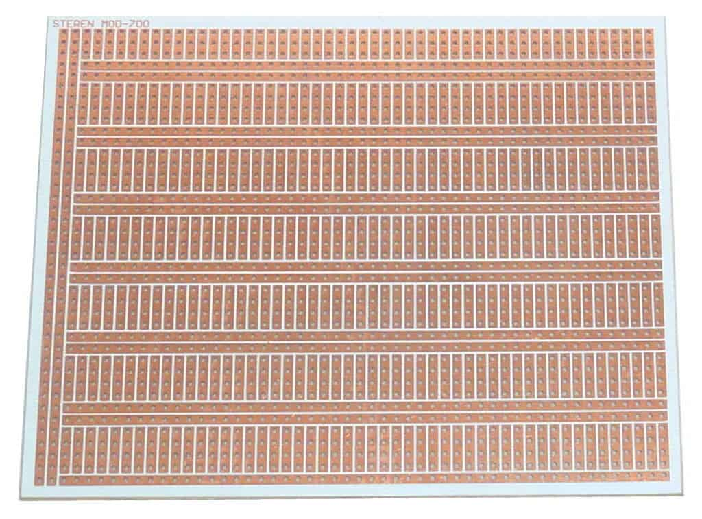 The back of a stripboard without components