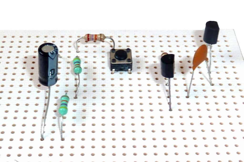 Stripboard circuit with components