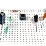 Through-hole components on a stripboard