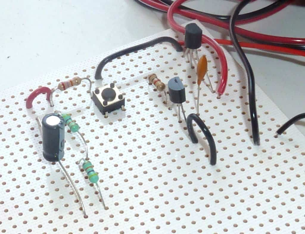 Stripboard with components and wires