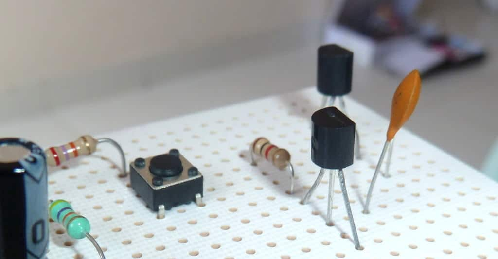 Two transistors in a circuit