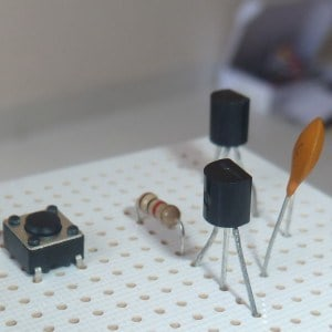 A transistor in a circuit on a stripboard