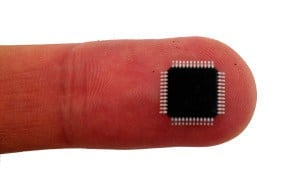 A microcontroller chip on a finger