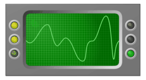 Oscilloscope measuring audio signal