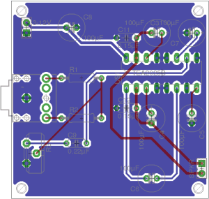PCB Layout of the mono amplifier circuit