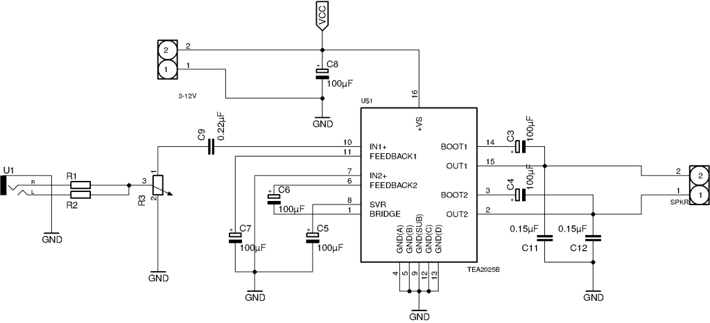 Mono Amplifier Circuit Diagram (Schematics)