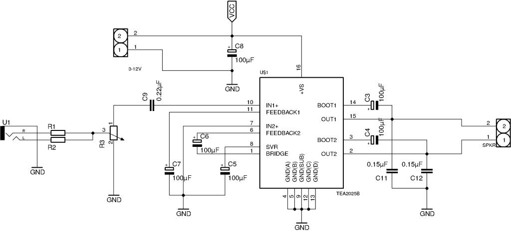mono amplifier circuit tea2025 build electronic circuitsMonoamplifiercircuit Images Frompo 1 #3