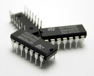 Three integrated circuit chips
