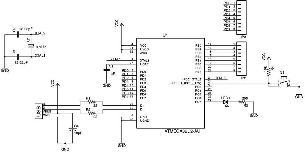 Microcontroller Tutorial ATmega32U2 circuit with values