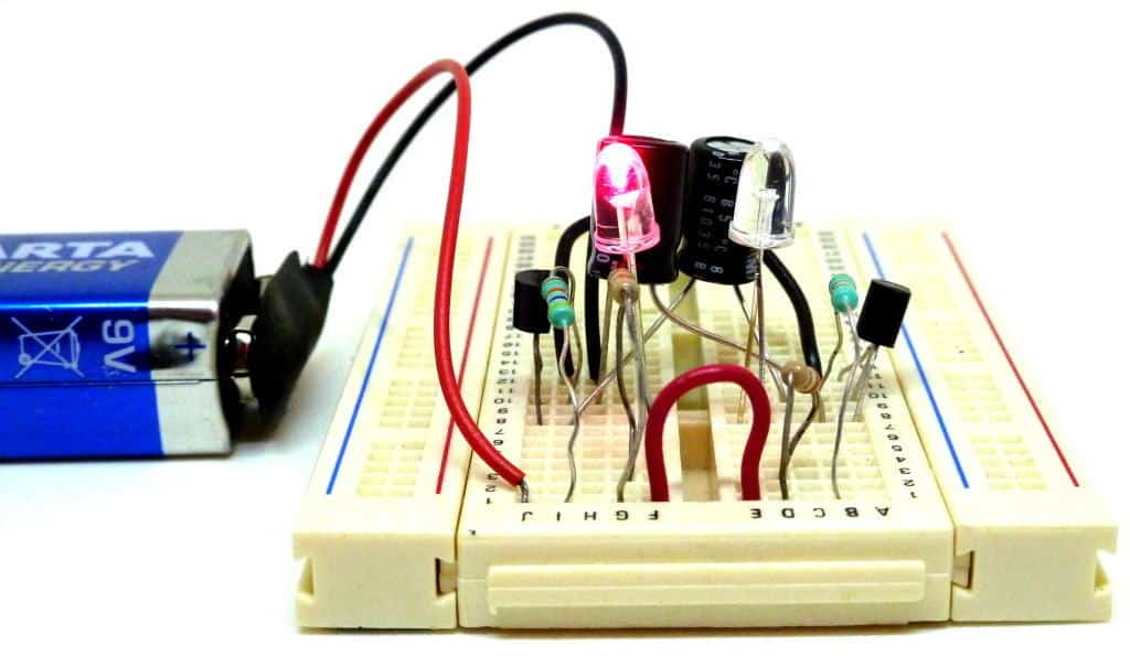 Astable multivibrator on a breadboard