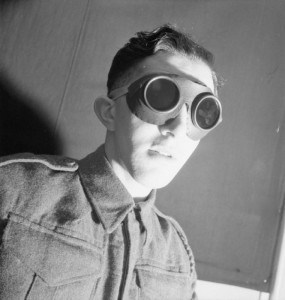 A recruit wearing safety goggles