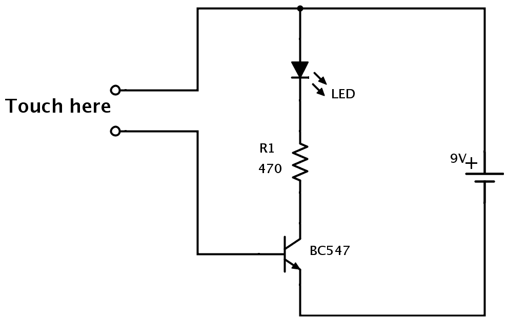touch sensor circuit how to make a simple touch sensor build electronic circuits simple circuit diagram at mifinder.co