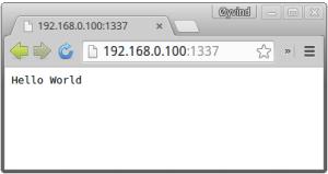 Intel Galileo webserver showing Hello World