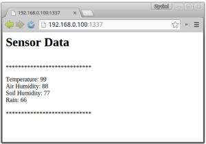 Intel Galileo web server showing 'fake' sensor data