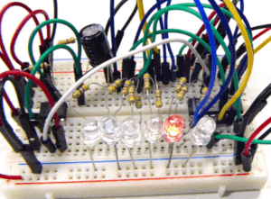 The knight rider light bar circuit on a breadboard