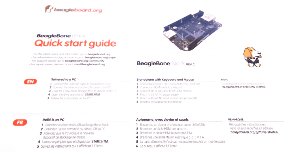 BeagleBone Black Getting Started Instructions