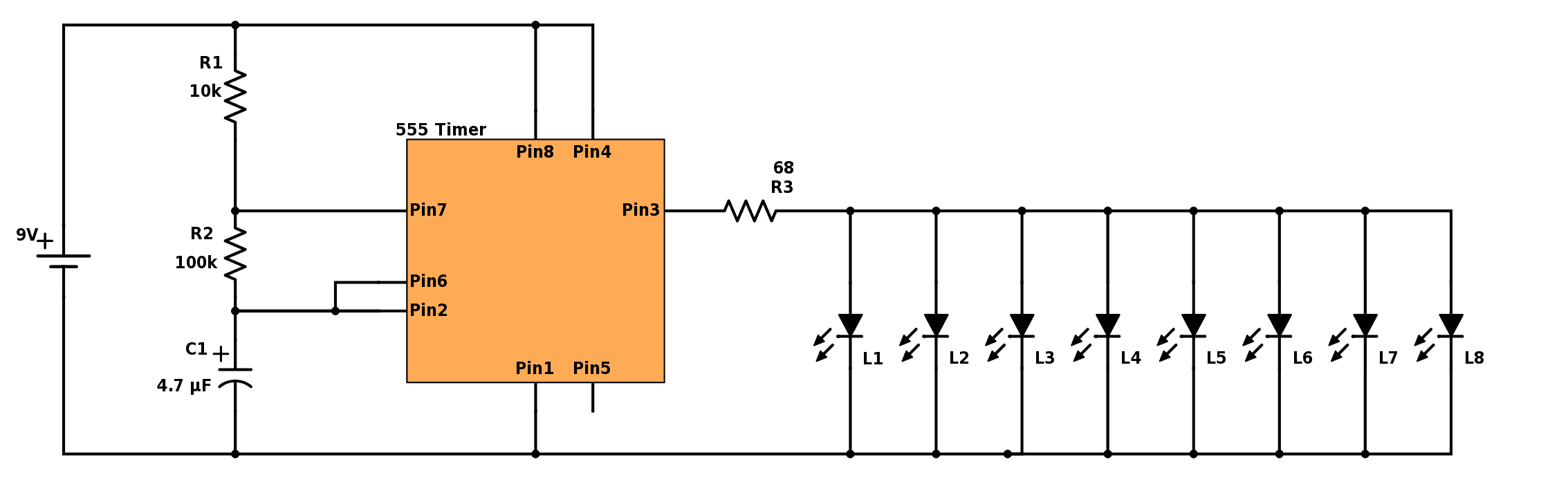 Blinking Christmas Lights Build Electronic Circuits Gain Control Preamplifier Circuit Diagram 555 Leds