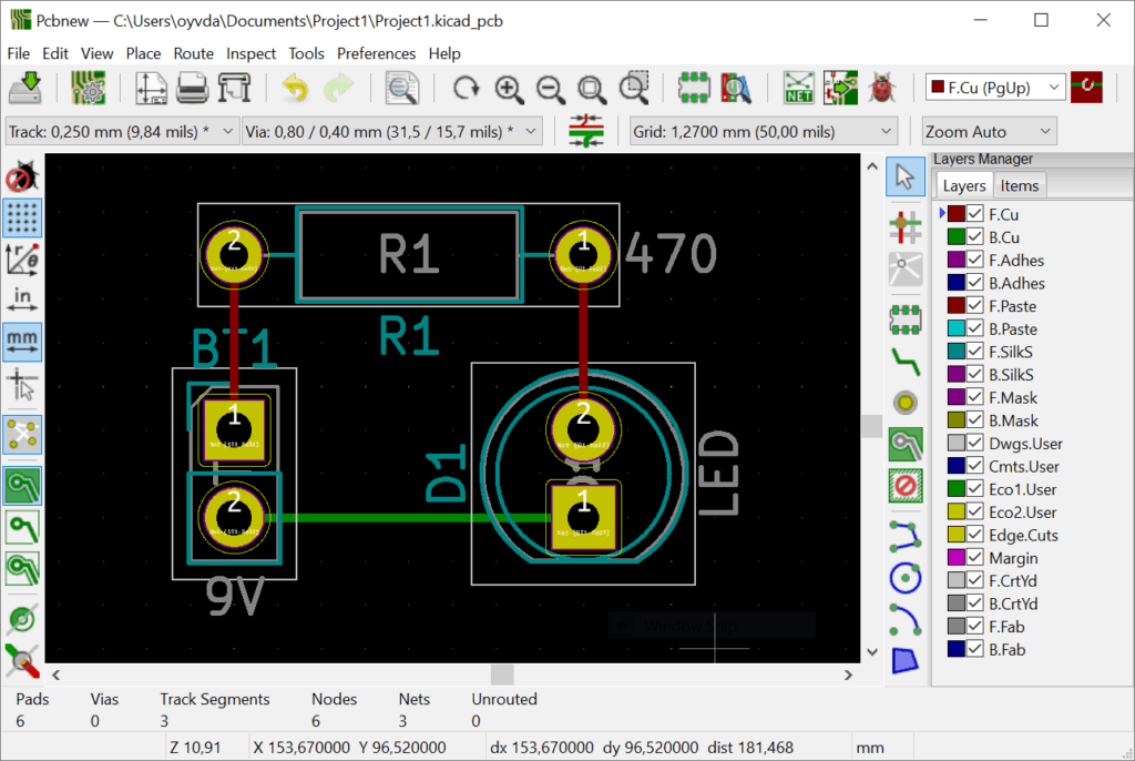 PCB Design of a simple LED board