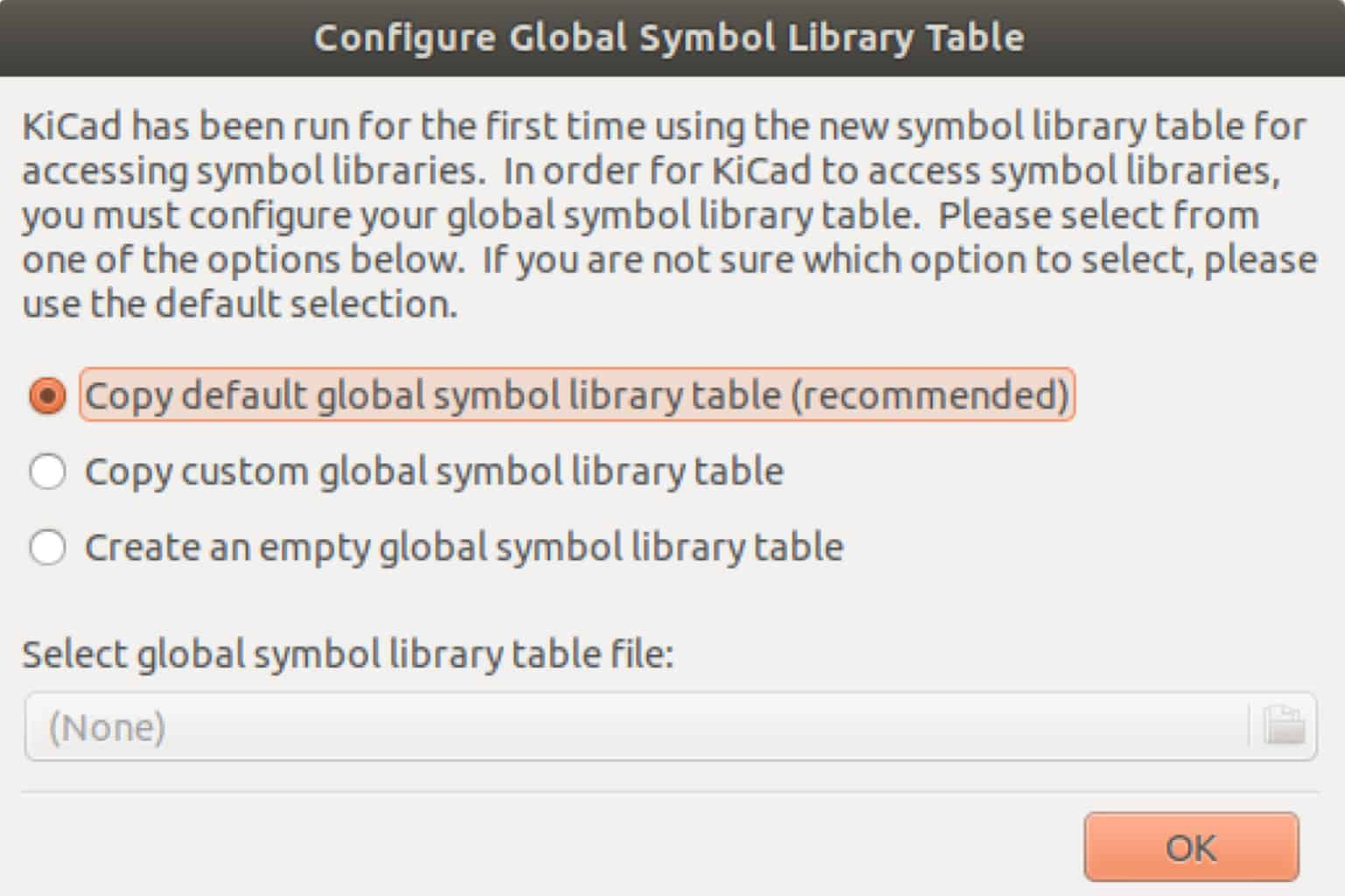 Kicad Configure Global Symbol Library Table box