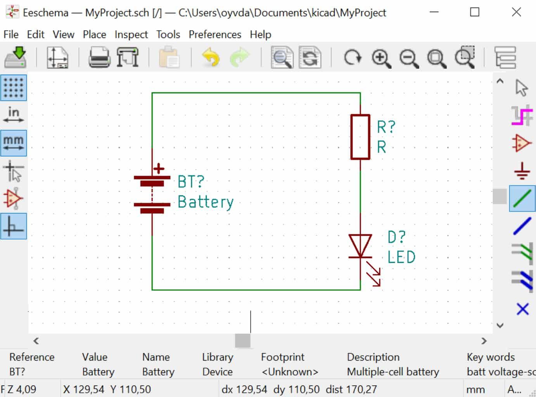 Kicad Tutorial first schematic diagram