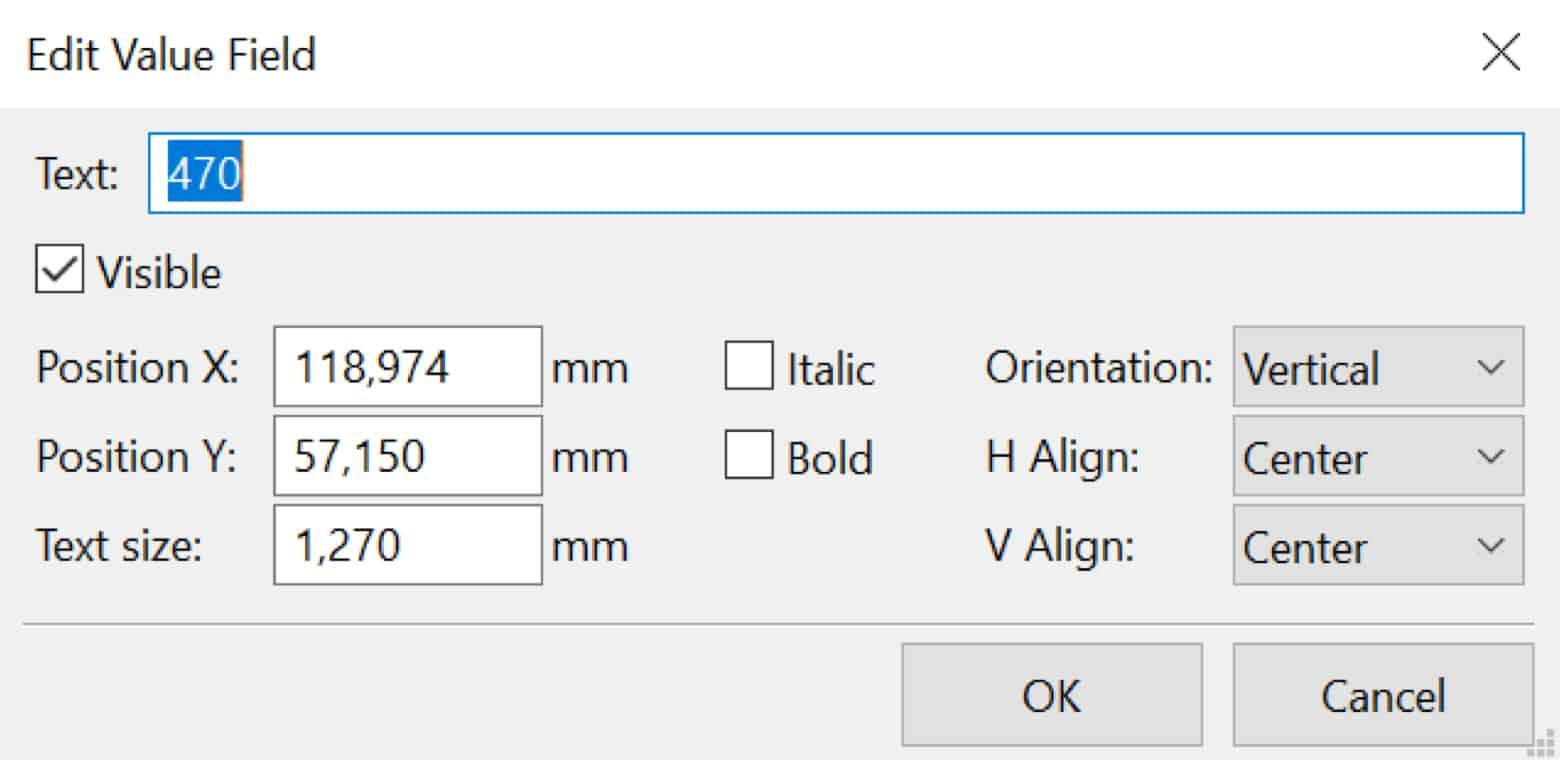 Kicad edit component value box