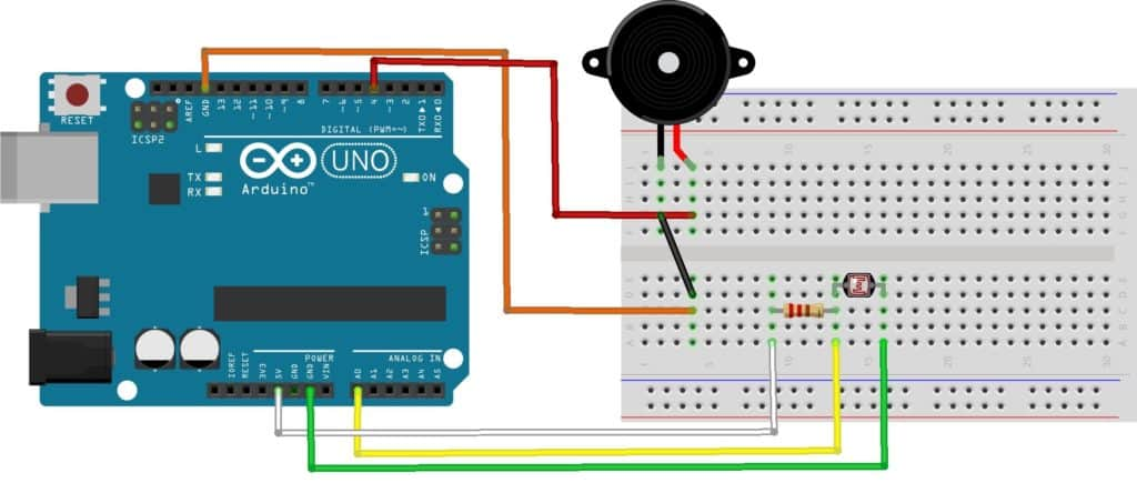 Shows the breadboard connections for the Arduino Theremin