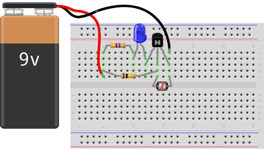 Night-light circuit on breadboard