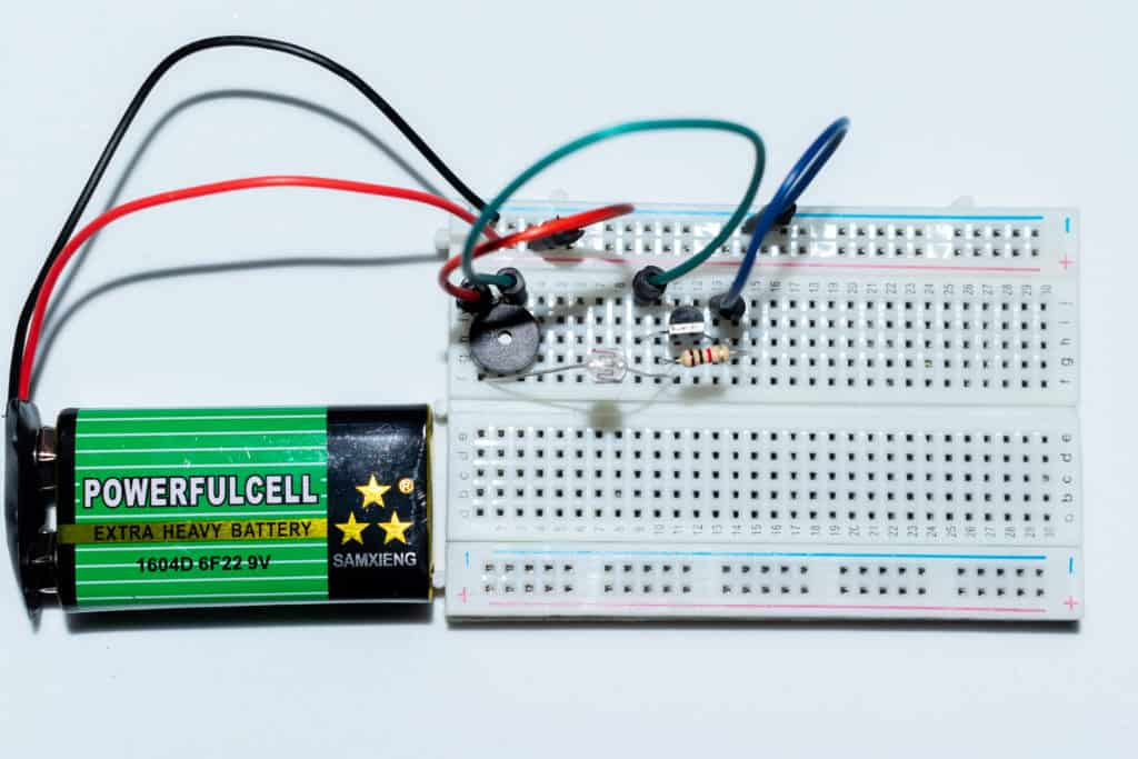 The sunrise wake-up alarm on a breadboard