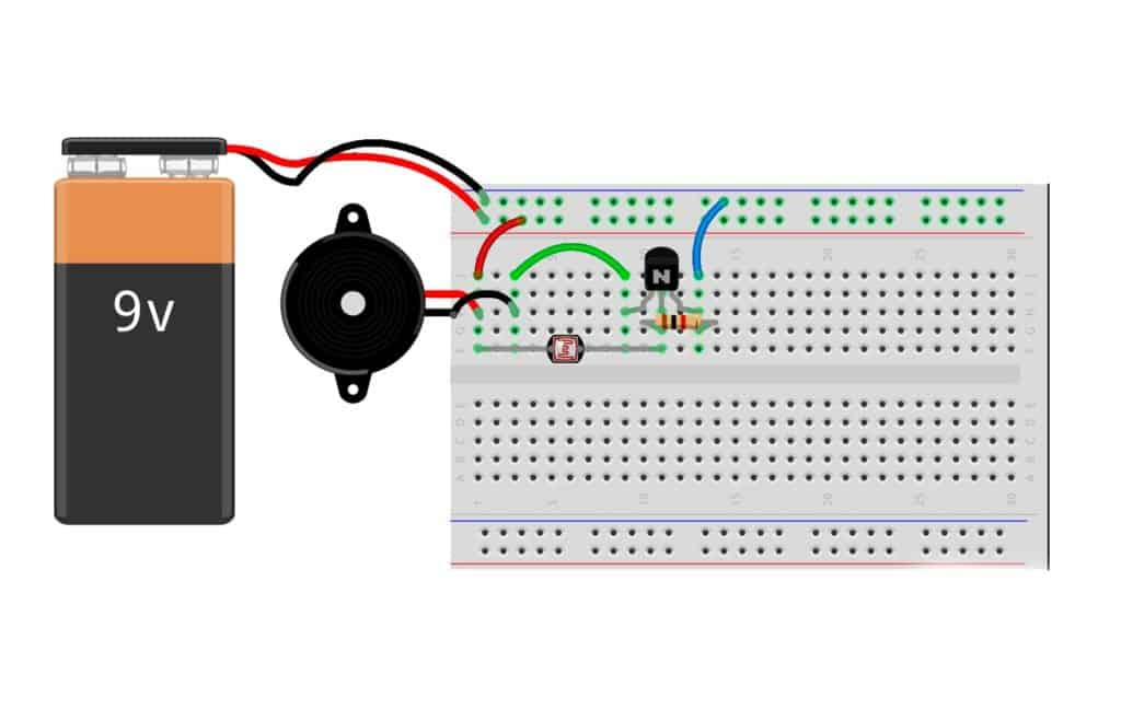 Sunrise wakeup alarm on a breadboard