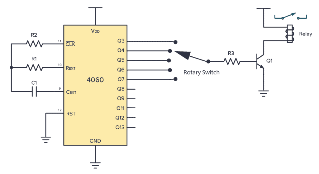 4060 Example Circuit - adjustable relay timer