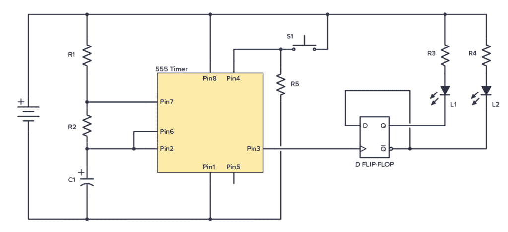 Coin tosser circuit with IC 4013