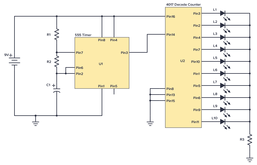 CD4017 with 555 Timer example circuit: LED chaser