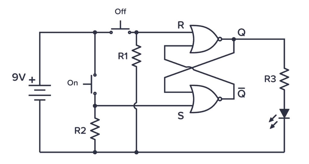 CD4001 Example Circuit showing an SR latch with separate ON/OFF buttons