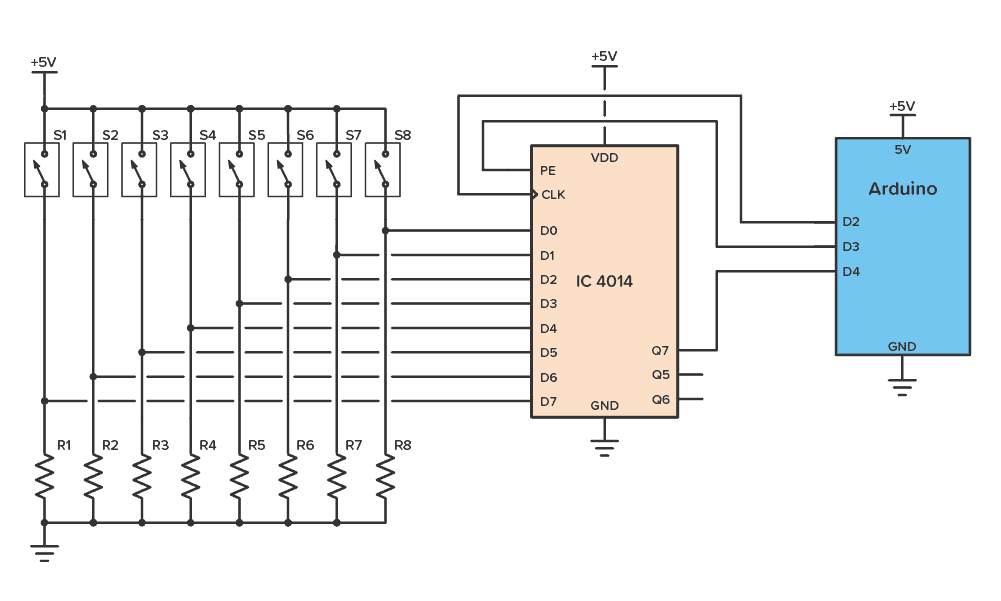 IC 4014 Example Circuit: Reading 8 button inputs with two Arduino pins