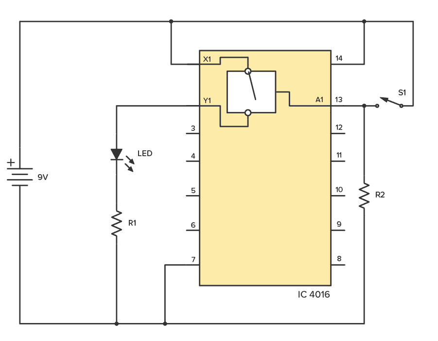 CD4016 example circuit for testing one of the switches